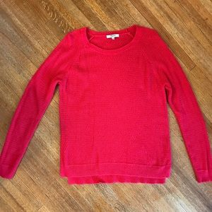 Red waffle knit Madewell sweater